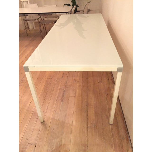 Minimal Modern White Glass Top Table - Image 2 of 3