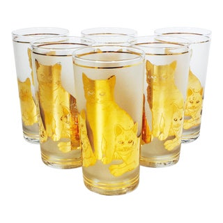 Culver Mid-Century Tall Cat Tumblers - Set of 6