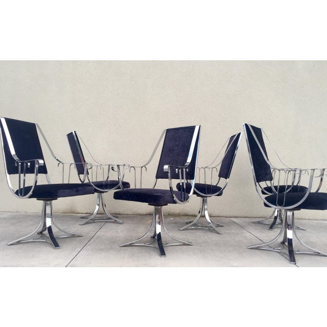 Mid-Century Chrome Swivel Chairs- Set of 6 - Image 3 of 11