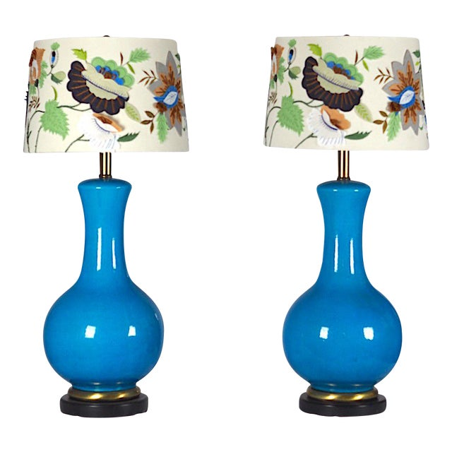 Mid-Century Large Blue Table Lamps- A Pair - Image 1 of 4