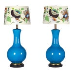 Image of Mid-Century Large Blue Table Lamps- A Pair