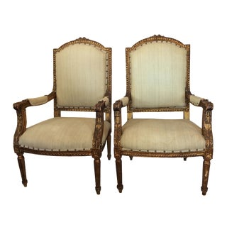 19th Century Louis XVI Style Armchairs - A Pair