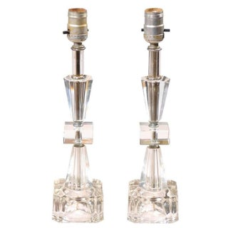 Art Deco Petite Crystal and Glass Lamps