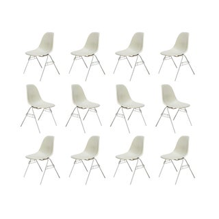 Eames Parchment Shell Chairs on Stacking Base