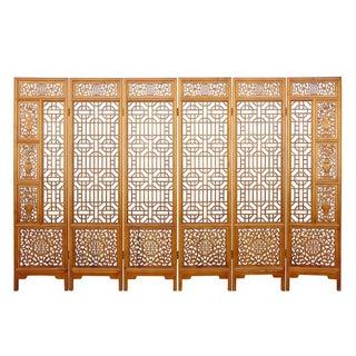 Chinese Elm Wood Brown Floral 6 Panel Floor Screen