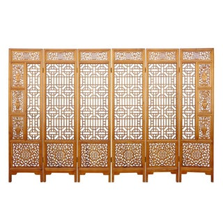 Chinese Elm Wood Brown Floral 6 Panel Floor Screen