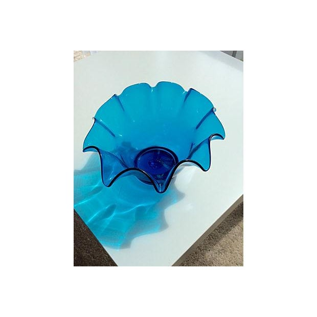 Electric Blue Bischoff Ruffled Glass Bowl - Image 4 of 5