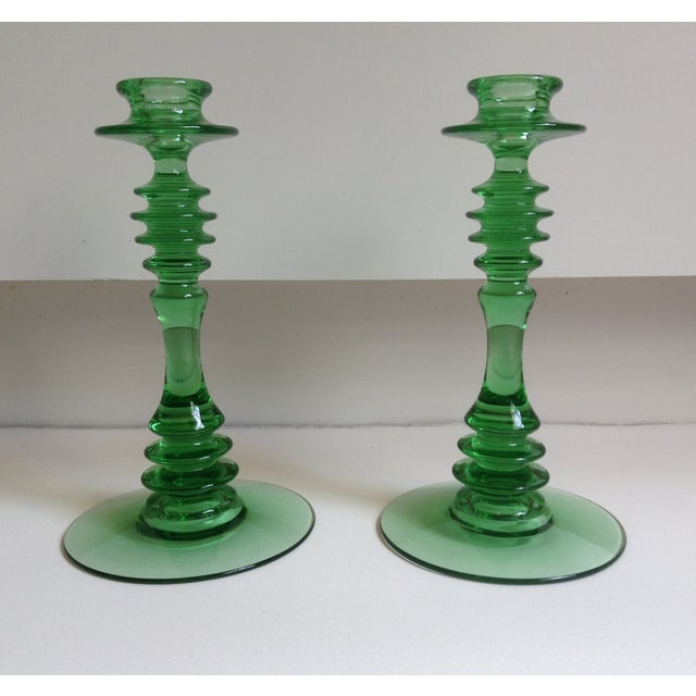 Green Depression Glass Candle Holders - A Pair - Image 2 of 6