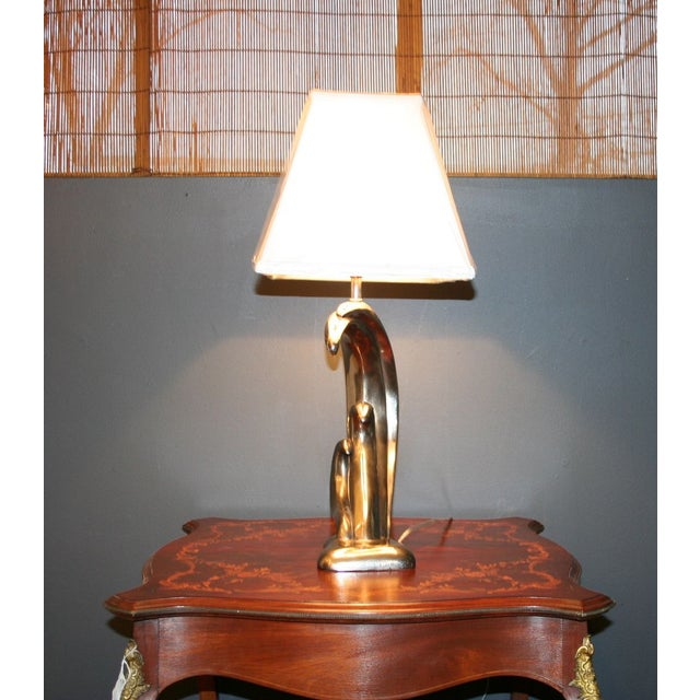 Modern Aged Silver Sculptured Accent Lamp - Image 4 of 7