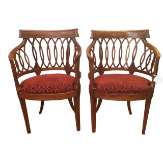 Antique Biedermeier Style Fruitwood Arm Chairs - Pair