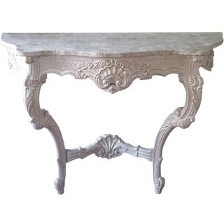 Vintage French-Style Foyer Table With Marble Top