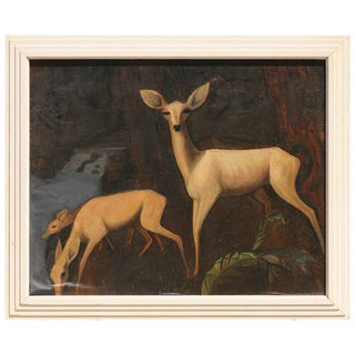 Deer Family Oil on Canvas Painting, circa 1934