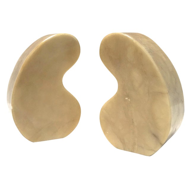 Italian Alabaster Bookends Quotation Mark - Image 1 of 7