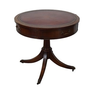 Weiman 1940s Mahogany Round Leather Top Drum Table