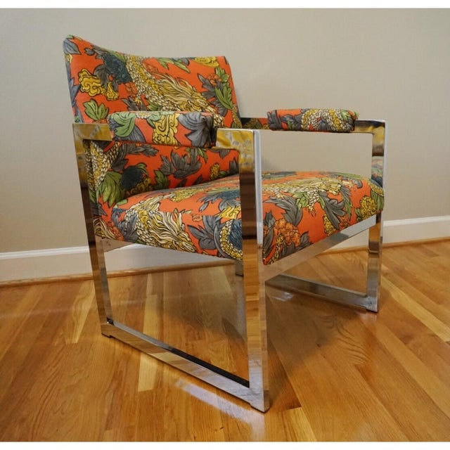 Milo Baughman Style Chrome Chair in Ming Dragon Fabric - Image 2 of 5