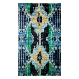 """Ikat Hand Knotted Area Rug - 4' 1"""" X 8' 2"""""""