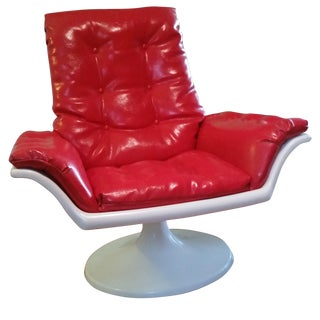 Mid Century Mod Space Age Tulip Base Swivel Chair