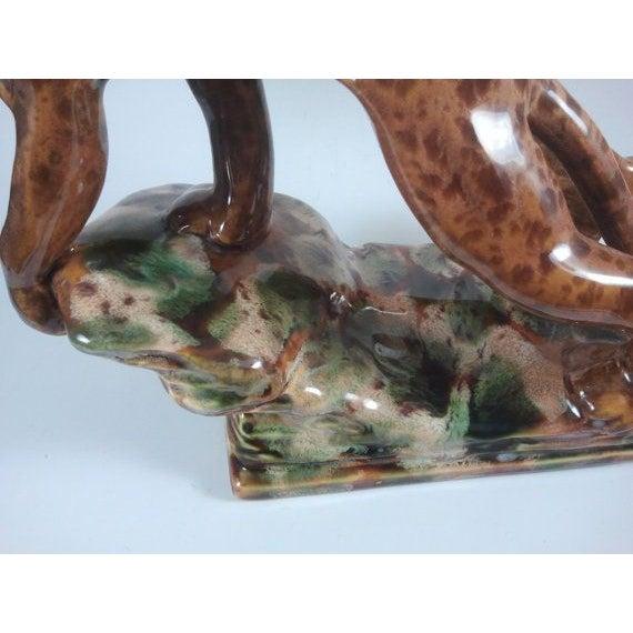 Mid-Century Rock Drip Glaze Art Pottery Panther - Image 5 of 6