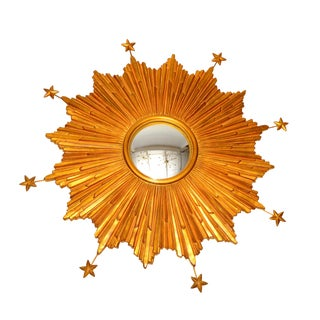 Sunburst Gilt Wall Mirror with Stars