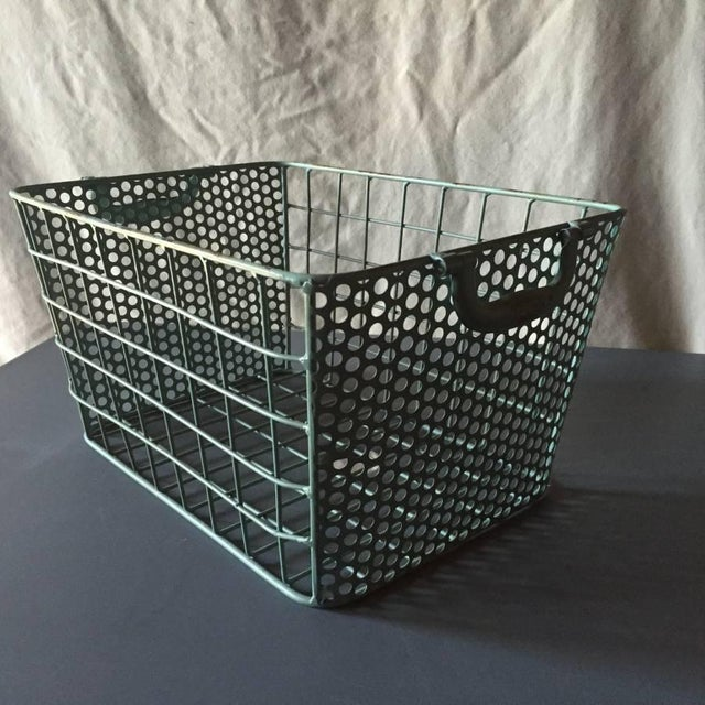 Blue Metal Perforated Industrial Style Basket - Image 6 of 8