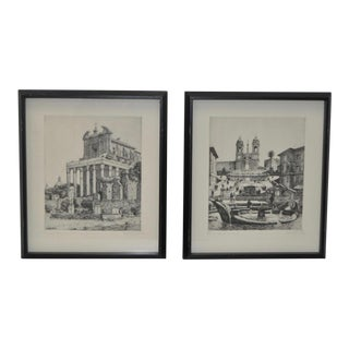 1960s Vintage Roman Architecture Etchings by G.B. Mirri - a Pair