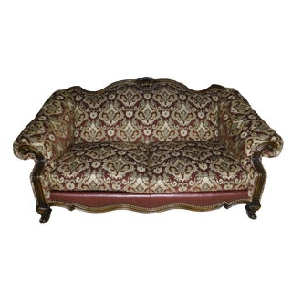 Sherrill Leather & Fabric Burgundy & Gold Sofa