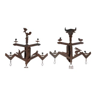 Southwestern Style Wrought Iron Sconces - A Pair