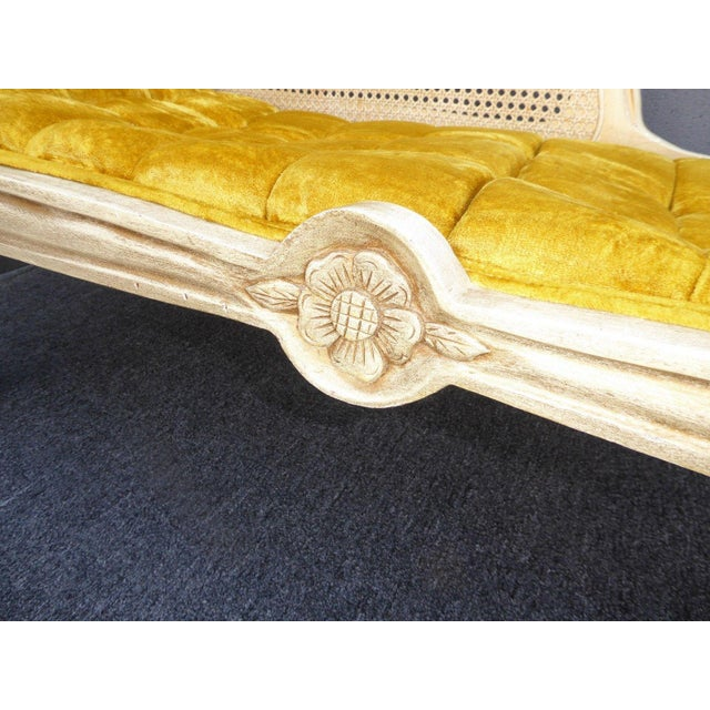 French Provincial White Cane & Gold Velvet Bench Settee - Image 9 of 11