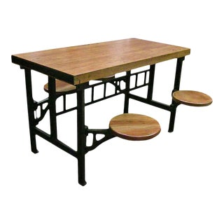 4-Swing-Seat Industrial Factory Table, 1930s Design