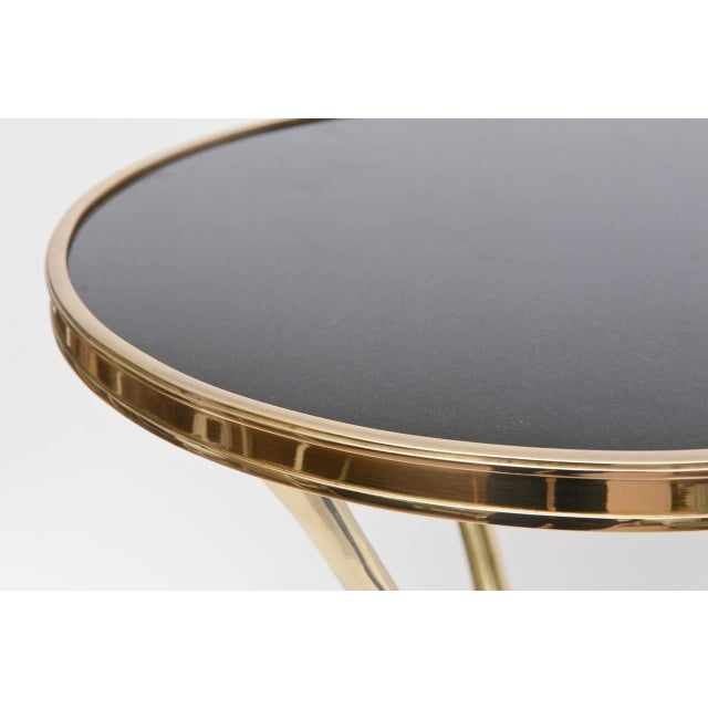 Chic Italian Polished Brass and Granite Faux Bamboo Tripod Side Table - Image 7 of 10