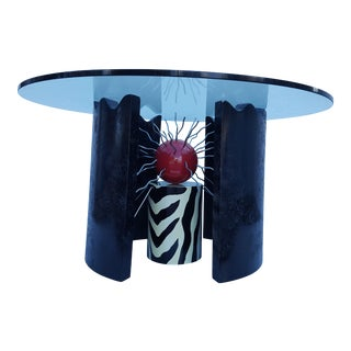 "Signed ""THOR "" Memphis Style Pop Art Modern Dining Table ."