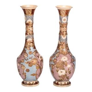Pair of Blue Japanese Satsuma Enameled Tall Neck Vases
