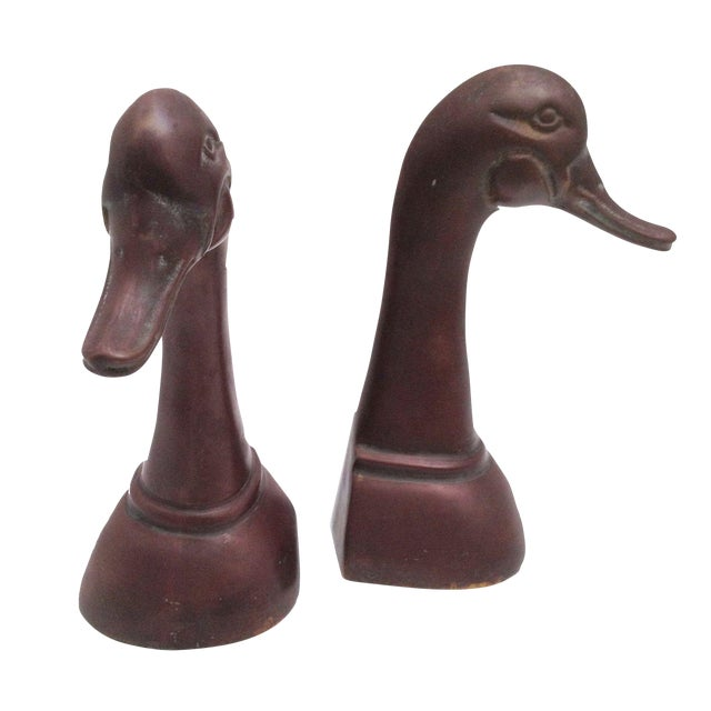 Large Brass Duck Head Bookends - Image 1 of 5
