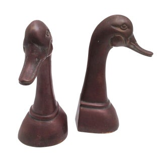 Large Brass Duck Head Bookends