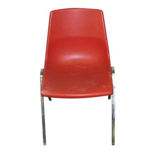 Retro Red Chairs With Metal Legs - Set of 4