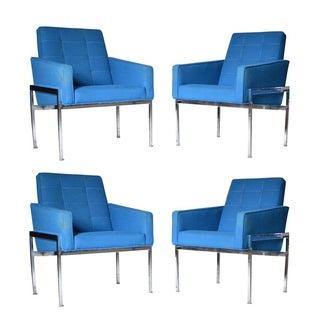 Milo Baughman Mid-Century Blue Armchairs - Set of 4
