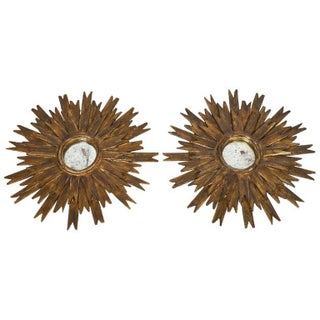 Spanish Vintage Gilt Sunburst Mirrors - Pair