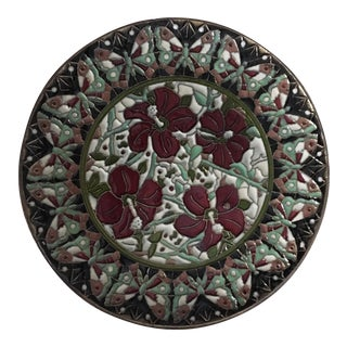 Hand Painted Floral Butterfly Cloisonné Decorative Plate