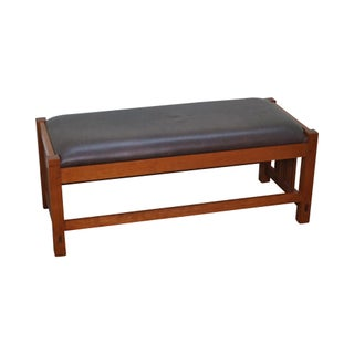 Stickley Cherry & Leather Mission Style Window Bench