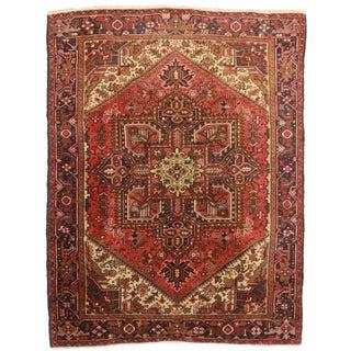 RugsinDallas Vintage Hand Knotted Wool Persian Hariz Rug - 6′11″ × 9′