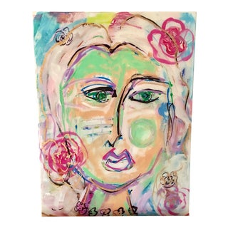 Face With Florals Resin Art on Canvas by Jj Justice
