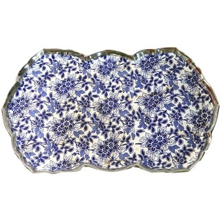 Blue and White Floral Tray