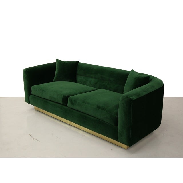 Petite Mid Century Velvet Sofa With Brass Base Chairish