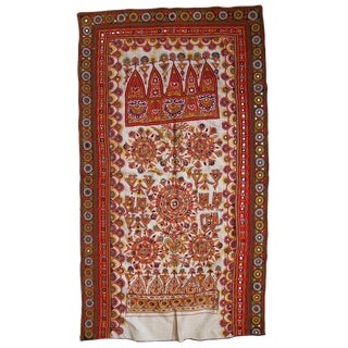 1950s Indian Embroidered Wall Tapestry