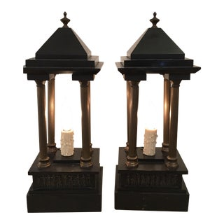 Antique Black Marble Portico Mantel or Table Lamps - a Pair