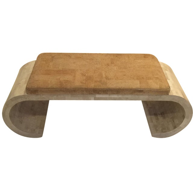 Karl Springer-Style Marble & Faux Cork Bench - Image 1 of 6