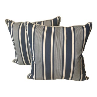 Ralph Lauren Blue & White Striped Pillows - A Pair