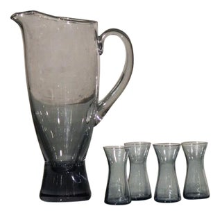 1960s Scandinavian Glass Pitcher & 4 Glasses