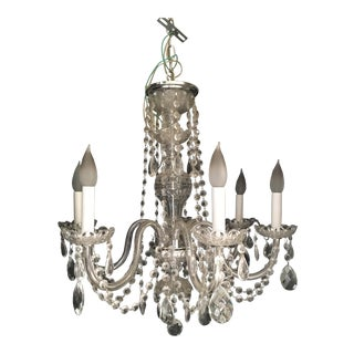 Vintage 6 Arm Crystal Chandelier