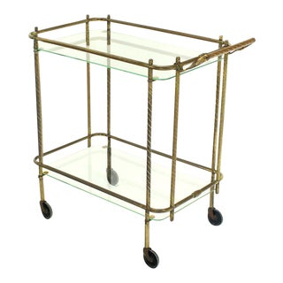 Brass Tube Frame and Glass Rectangular Tea Bar Cart